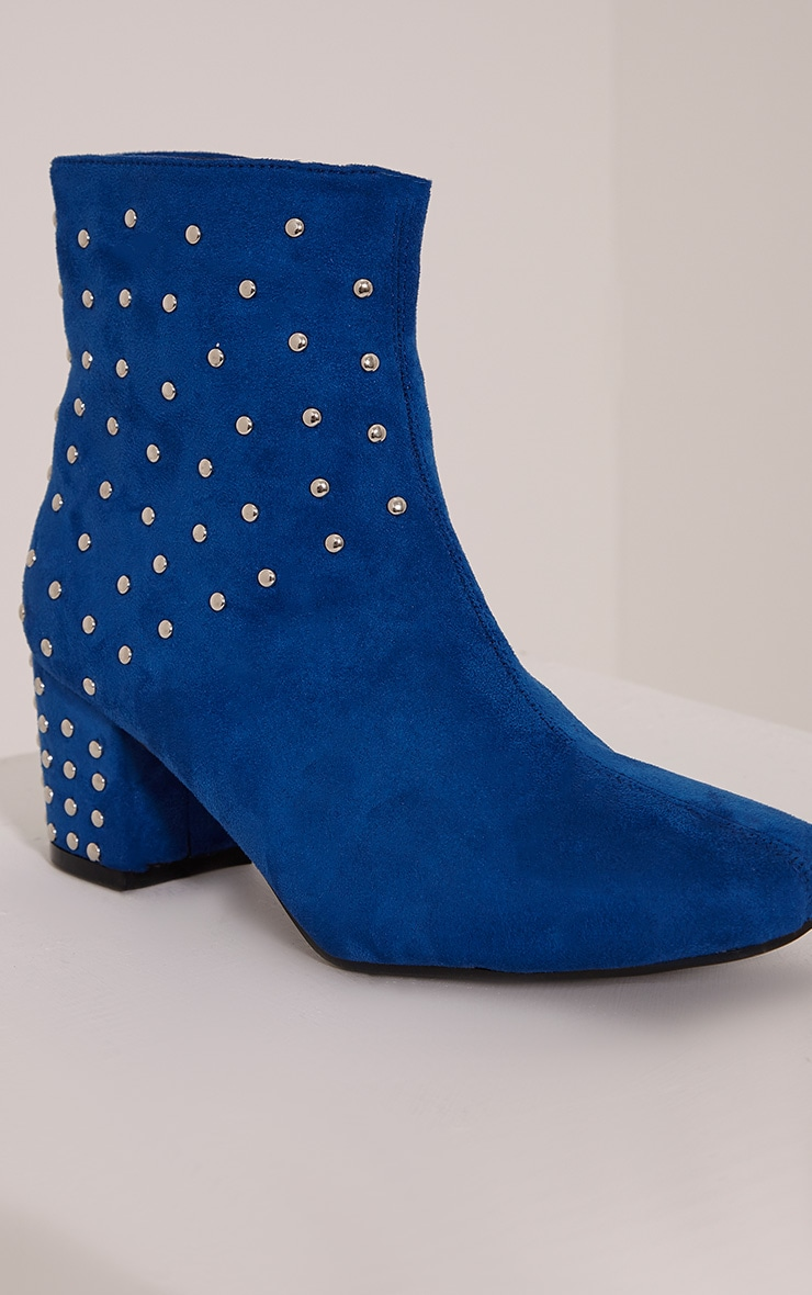Kendal Cobalt Faux Suede Studded Ankle Boots 5