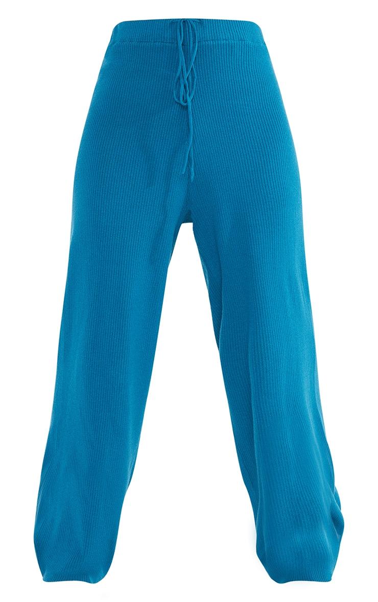 Petite Blue Soft Rib Wide Leg Joggers 5