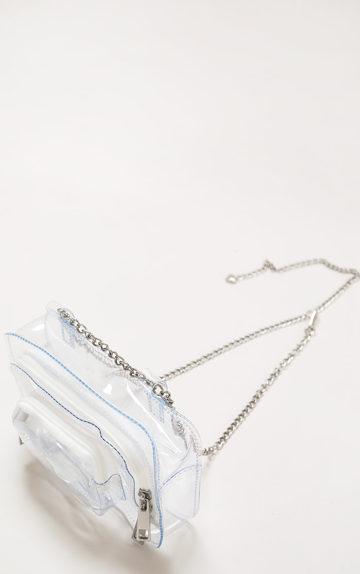 White Clear Pu Chain Belt Bag 2