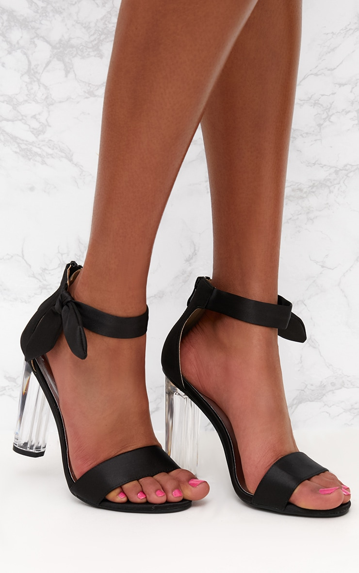 Black Satin Bow Clear Heel Sandal 1