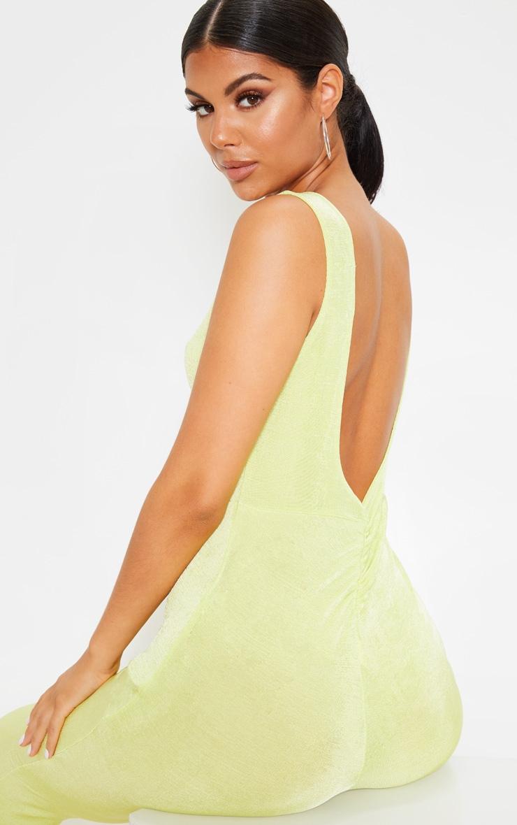 Lime Slinky Ruched Back Jumpsuit 5