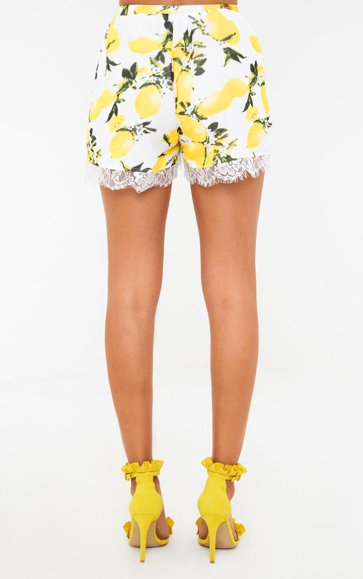 White Lemon Print Lace Trim Shorts 4