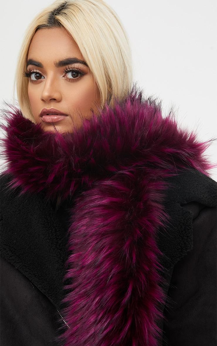 Burgundy Faux Fur Scarf 1