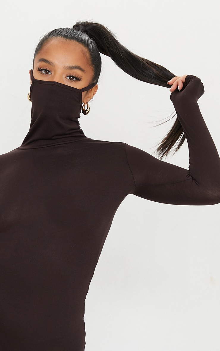 Petite Chocolate Brown Face Mask Bodycon Dress 4
