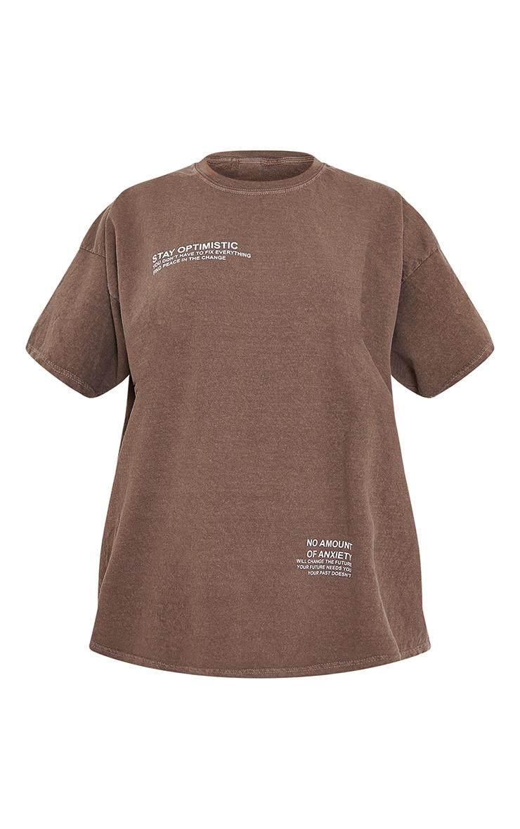Chocolate Stay Optimistic Small Print Slogan Washed Short Sleeve T Shirt 5