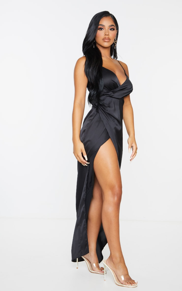 Petite Black Satin Wrap Detail Maxi Dress 4