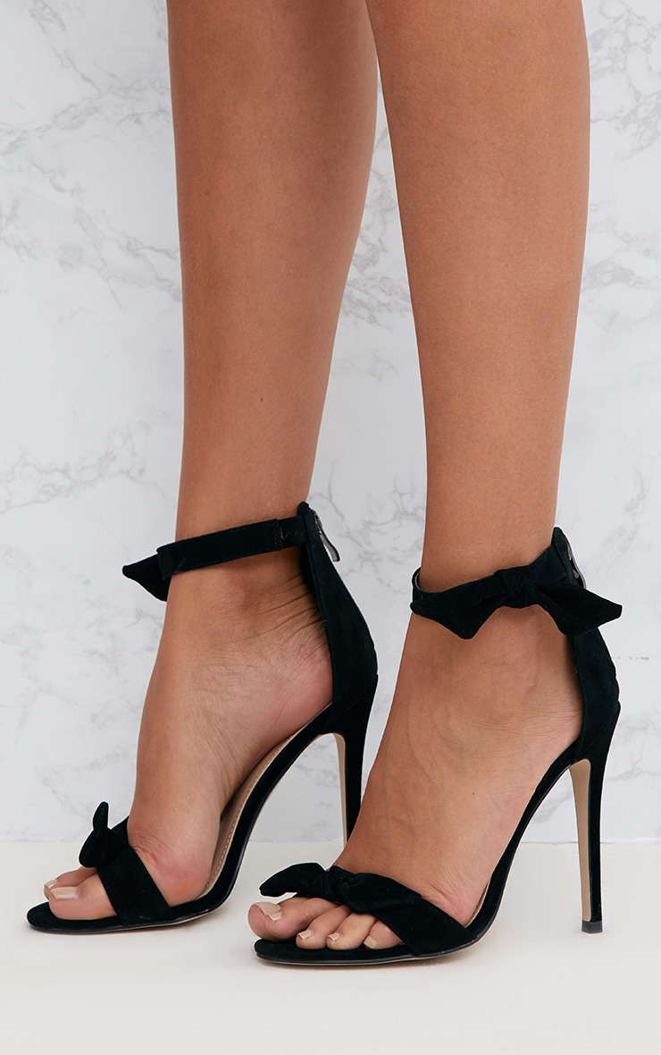 Black Bow Strap Heeled Sandals  2