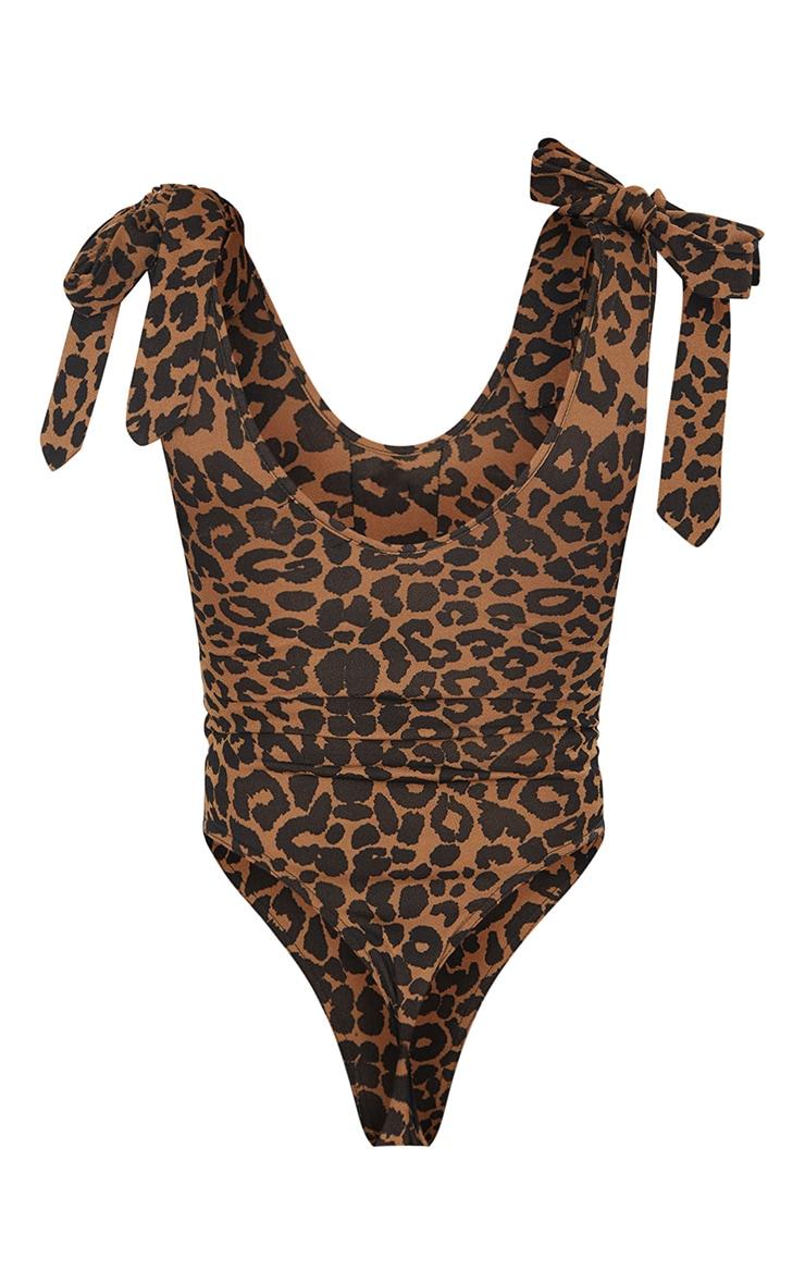 Tan Leopard Print Tie Detail Bodysuit 6