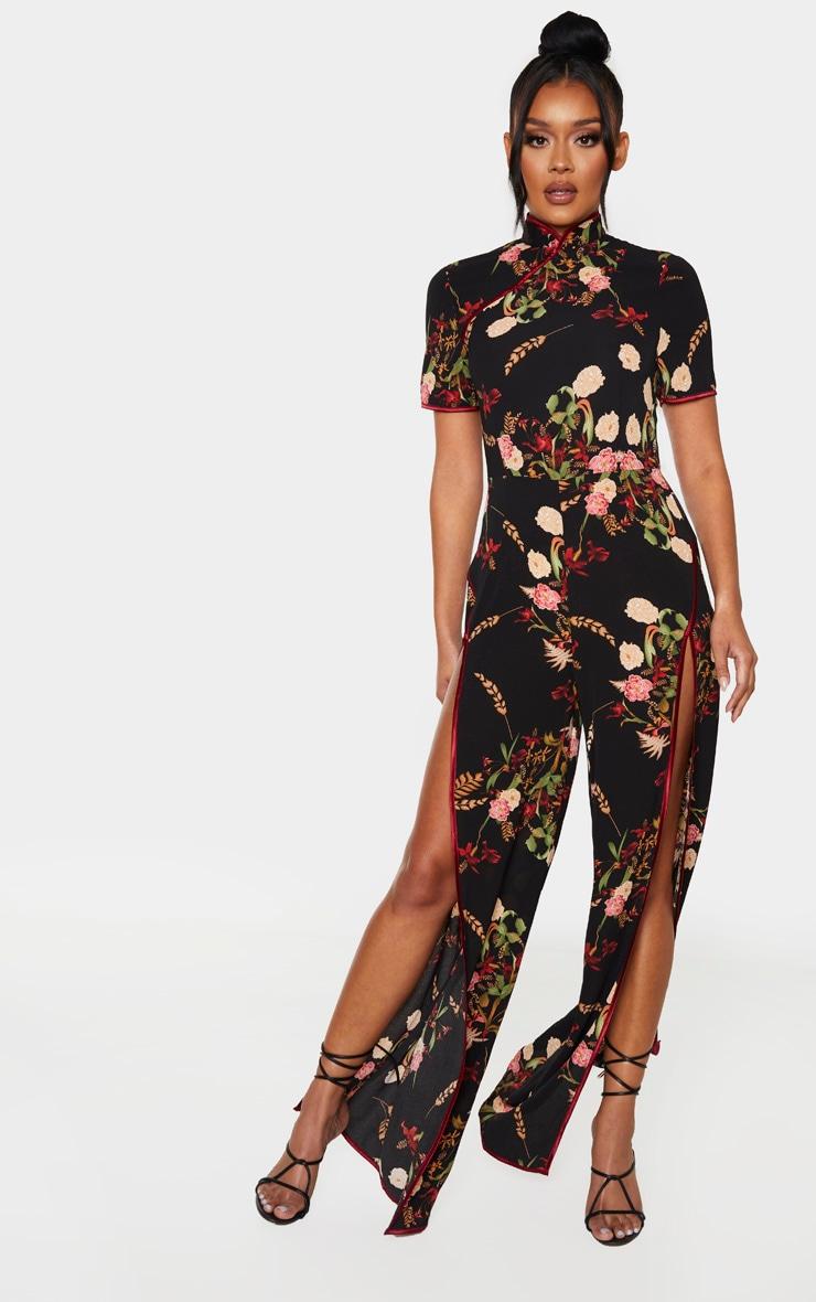 Black Thigh Split Printed Jumpsuit 1