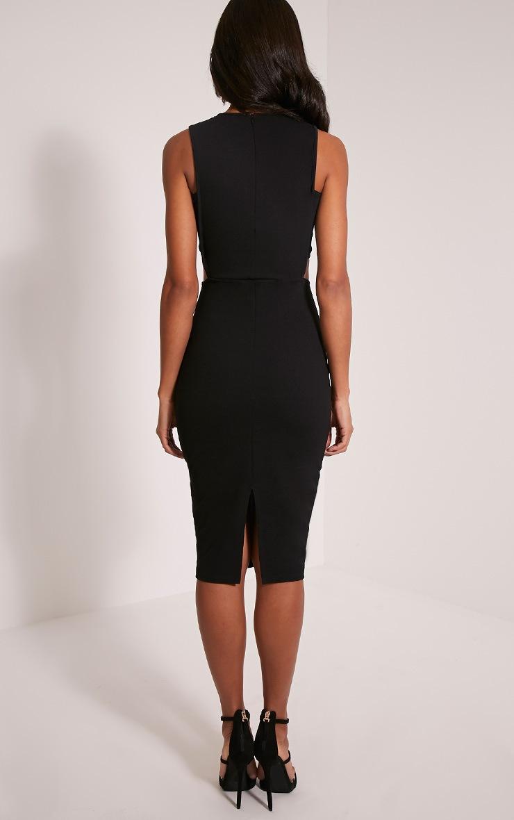Lanelle Black Mesh Detail Midi Dress 2