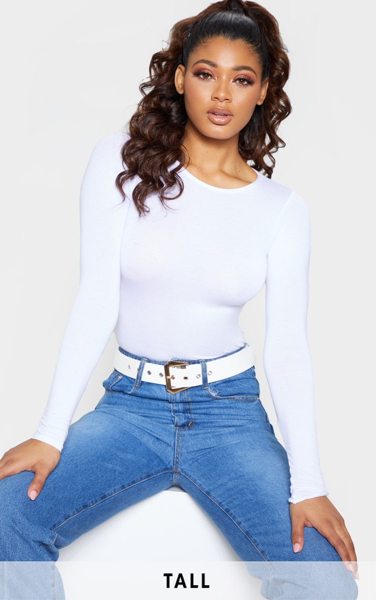 Tall White Basic Crew Neck Long Sleeve Bodysuit 1