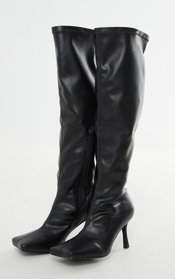 Black PU Extreme Square Toe Low Heeled Sock Knee High Boots 3