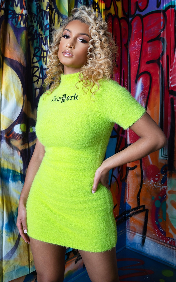 Lime New York Fluffy Knitted Bodycon Dress 4
