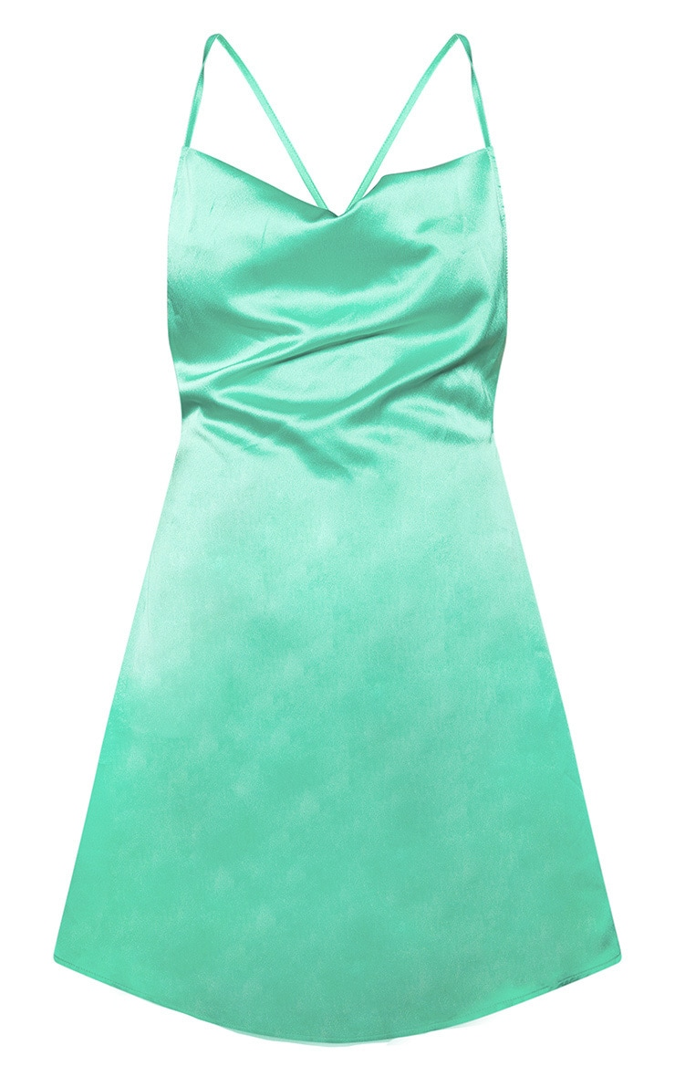Green Satin Cowl Neck Shift Dress 3