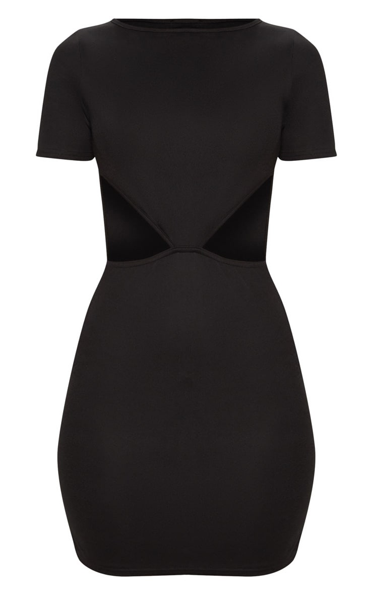Black Short Sleeve V Cut Out Bodycon Dress 3