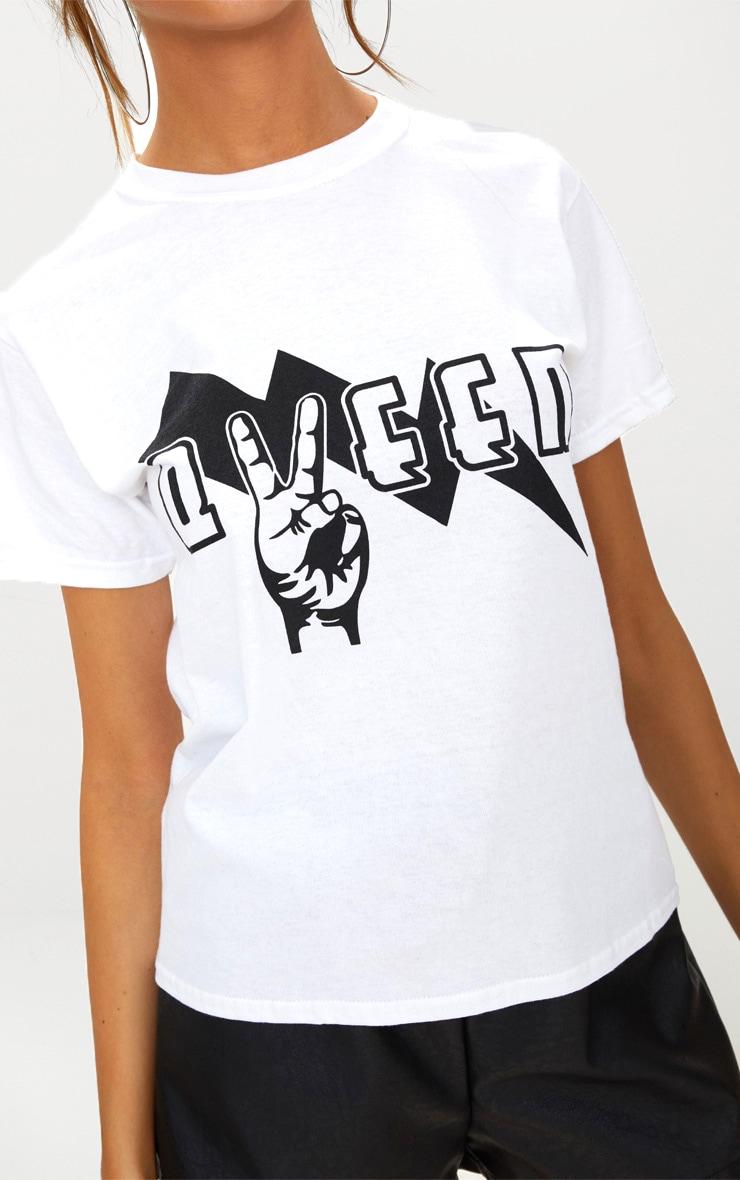 White Queen Slogan T Shirt  5