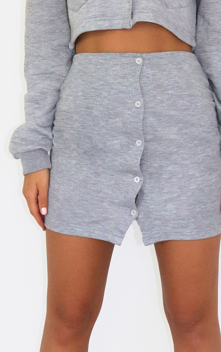 Grey Button Front Sweat Mini Skirt 5