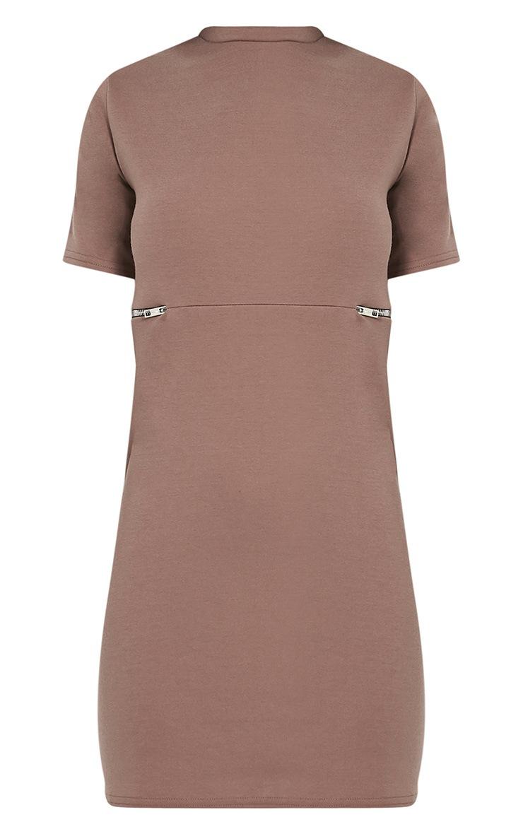 Kendie Taupe Zip Detail T Shirt Dress 2
