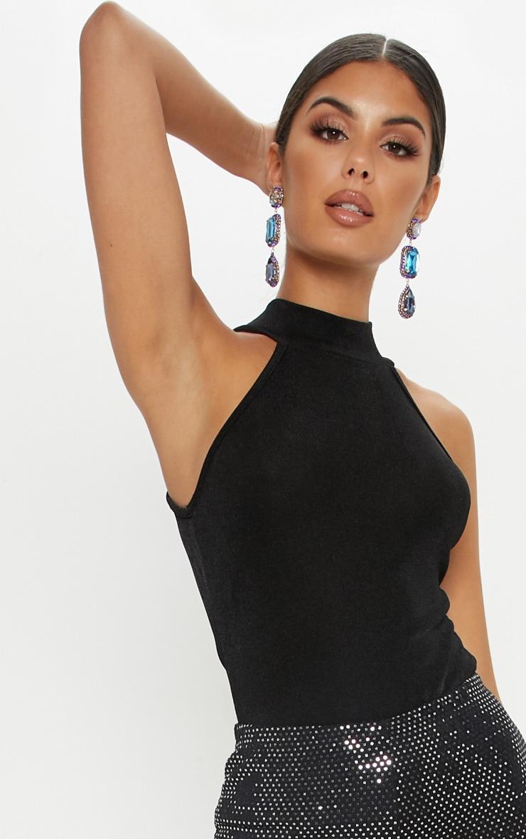 Black Glitter Fine Knit Roll Neck Sleeveless Top 5