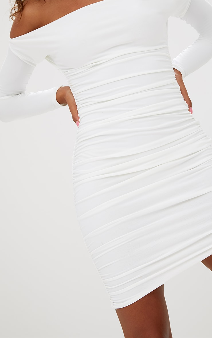Petite White Slinky Asymmetric Bardot Dress 4