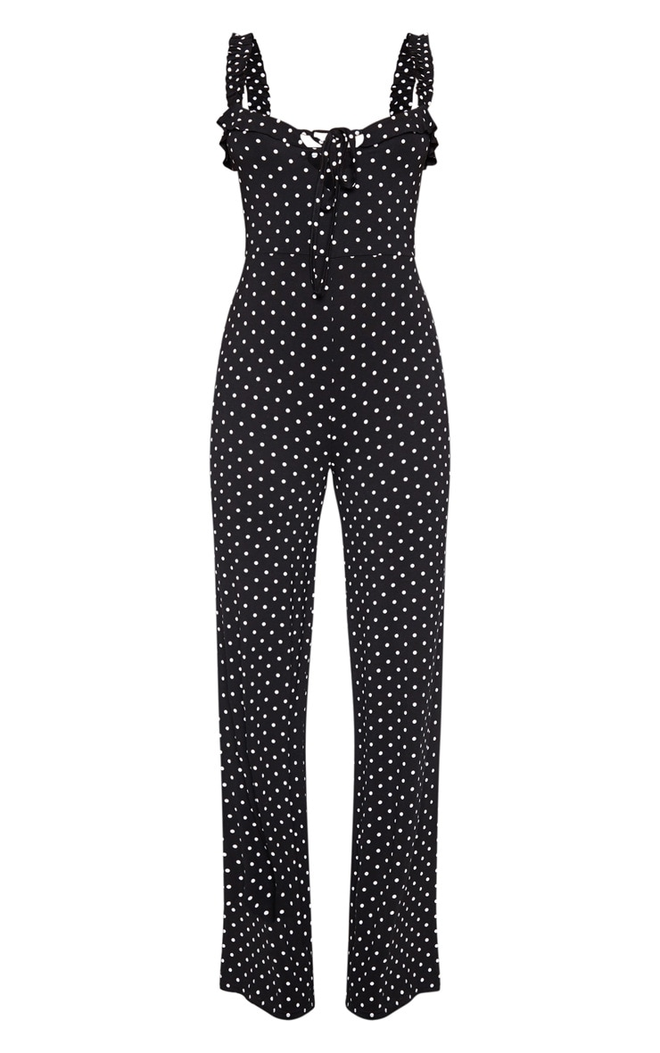 Black Polka Dot Print Frill Detail Jumpsuit 3