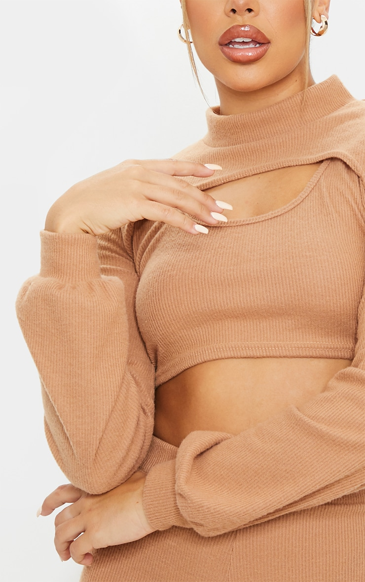 Camel Soft Brushed Rib High Neck Extreme Crop Sweater 4