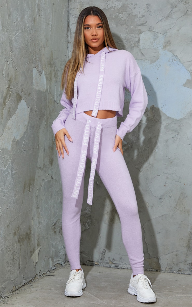 PRETTYLITTLETHING Lilac Soft Knitted Sweat Pants 1