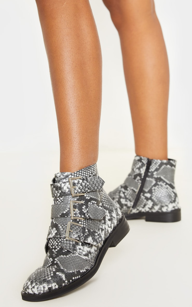 Snake Triple Buckle Ankle Boot 2