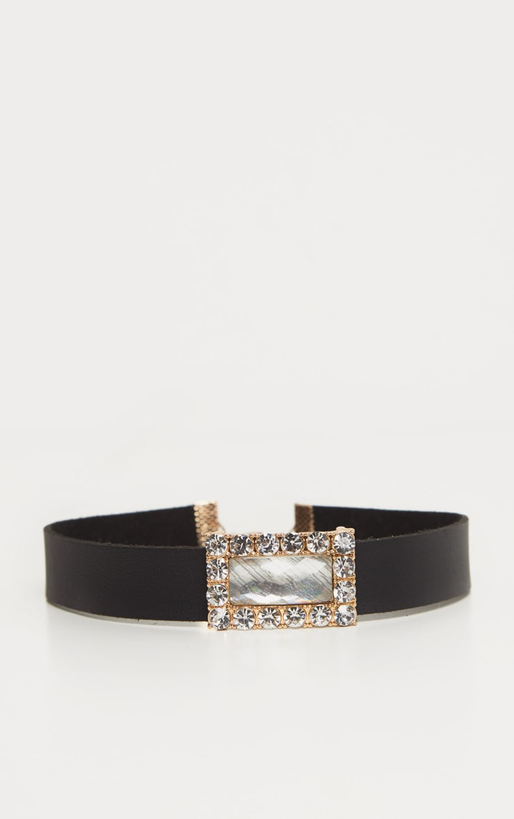Black PU Iridescent Crystal Choker 3