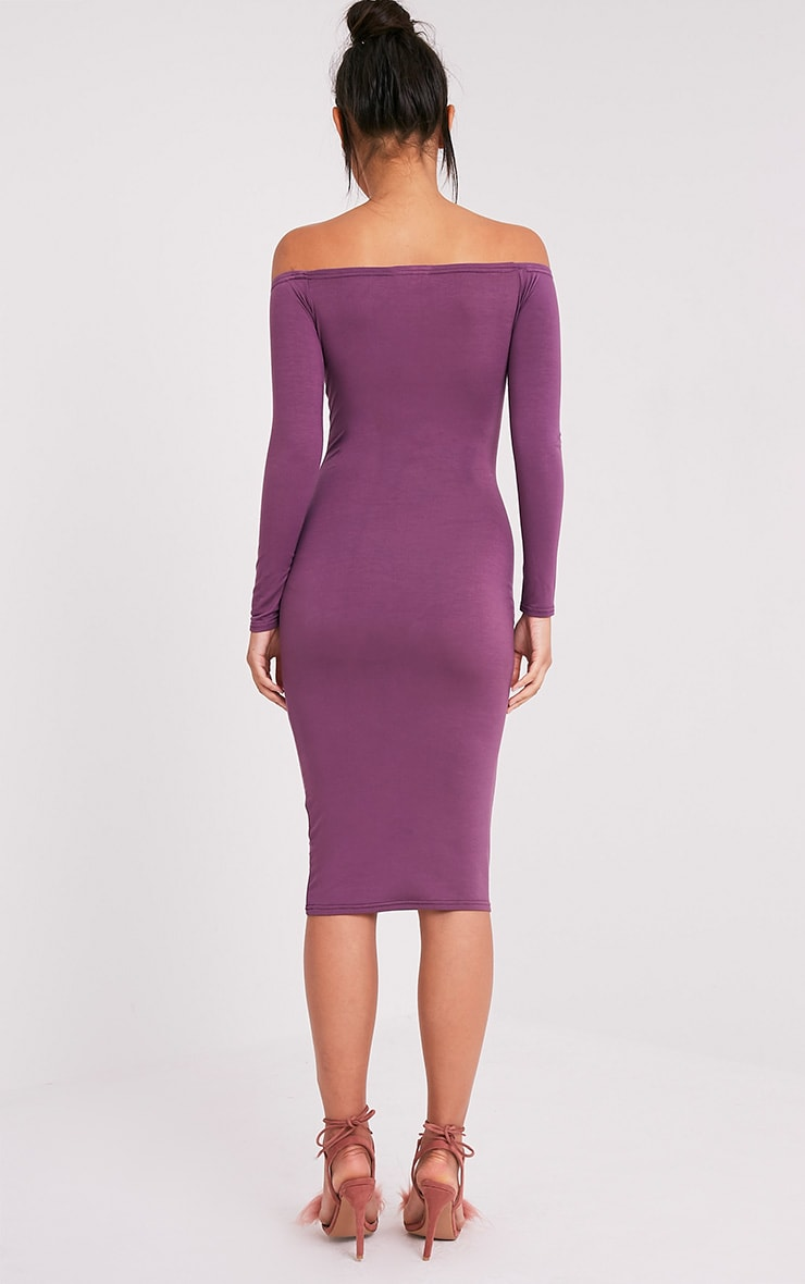 Basic Aubergine Jersey Bardot  Midi Dress 2