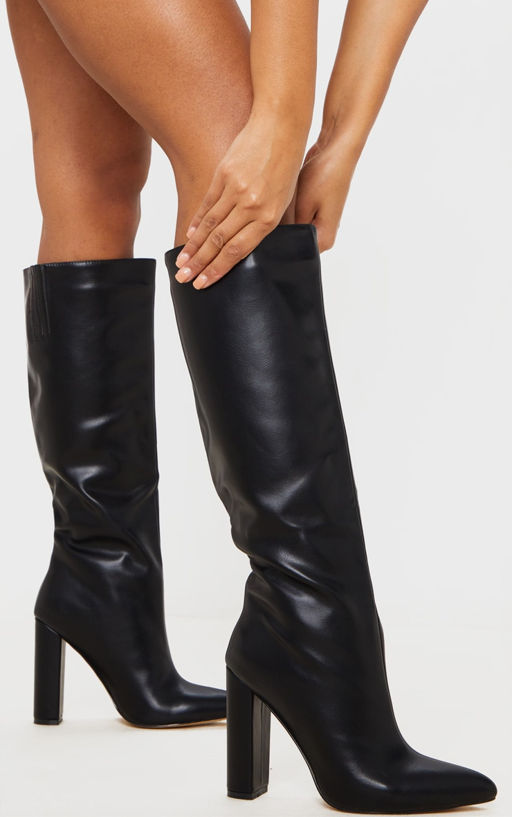 Black Wide Fit Knee High Point Block Heel Boot 1