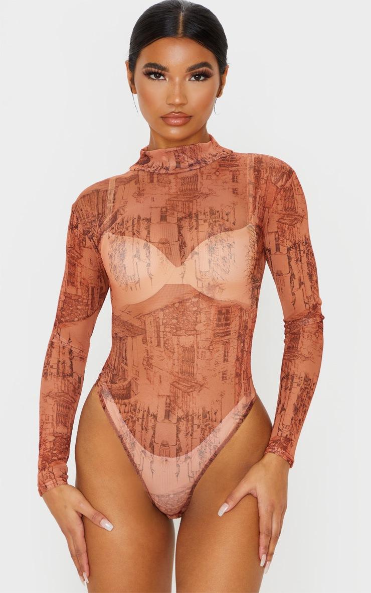 Rust Sketch Printed Mesh High Neck Long Sleeve Bodysuit 2
