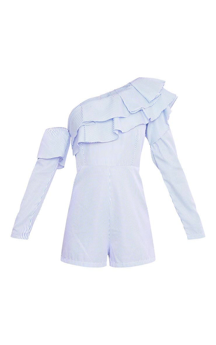 Laura Blue Stripe Frill Cold Shoulder Playsuit 3