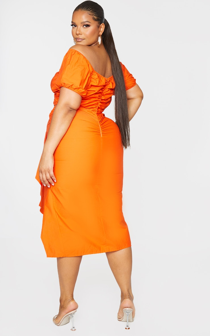 Plus Orange Woven Cut Out Wrap Dress 2