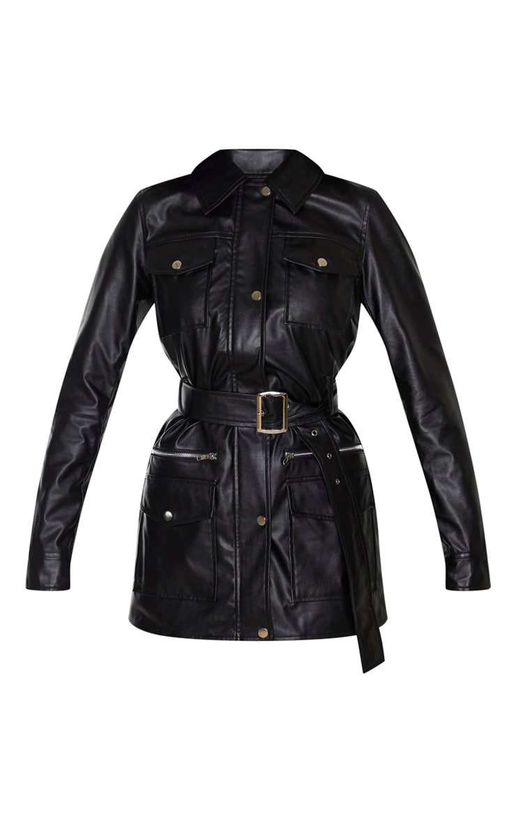Black PU Utility Belted Pocket Jacket 3