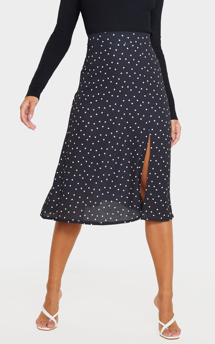 Black Polka Dot Floaty Midi Skirt 2