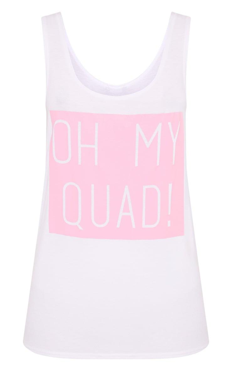 Oh My Quad White Slogan Vest Top 3