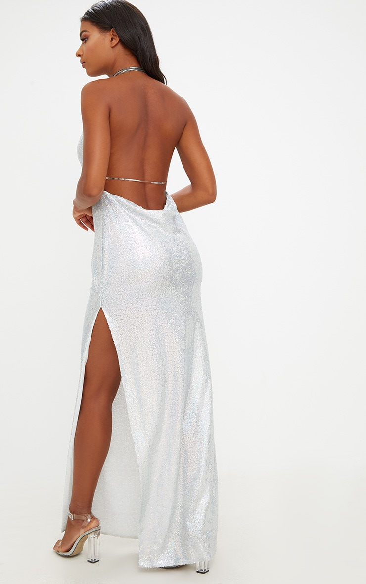 Silver Sequin Chain Choker Maxi Dress 2