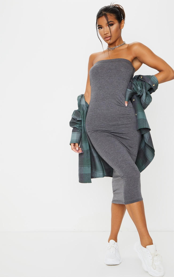 Basic Charcoal Grey Bandeau Midaxi Dress 1