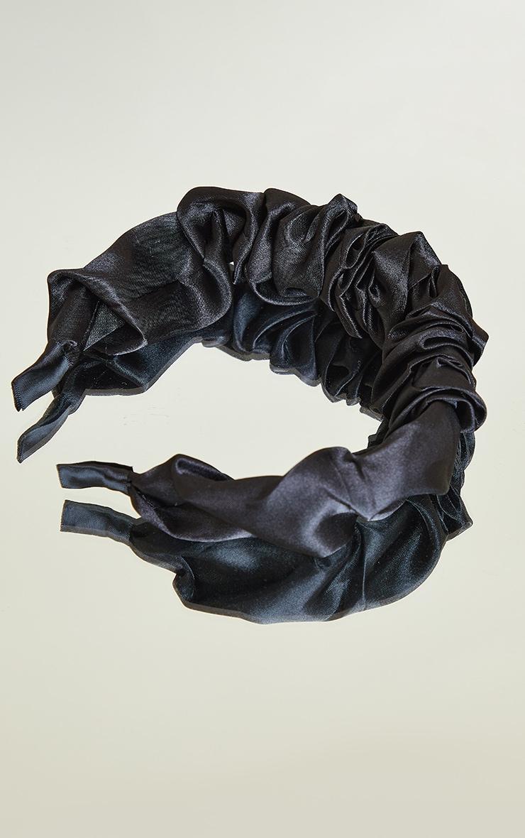 Black Satin Scrunchie Headband 2