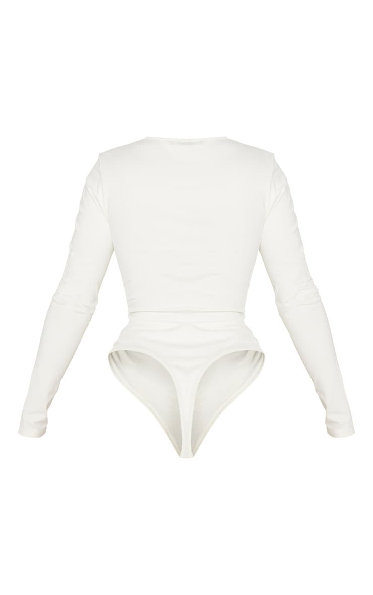 Shape Cream Cotton V Neck Long Sleeve Bodysuit 4