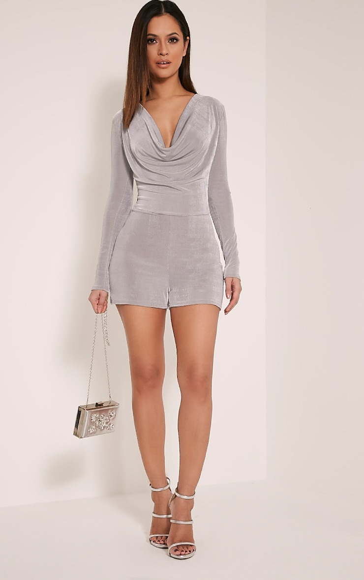 Veronia Silver Long Sleeved Cowl Neck Playsuit 4