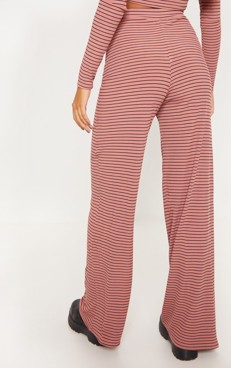 Pink Striped Knitted Wide Leg Trouser  4
