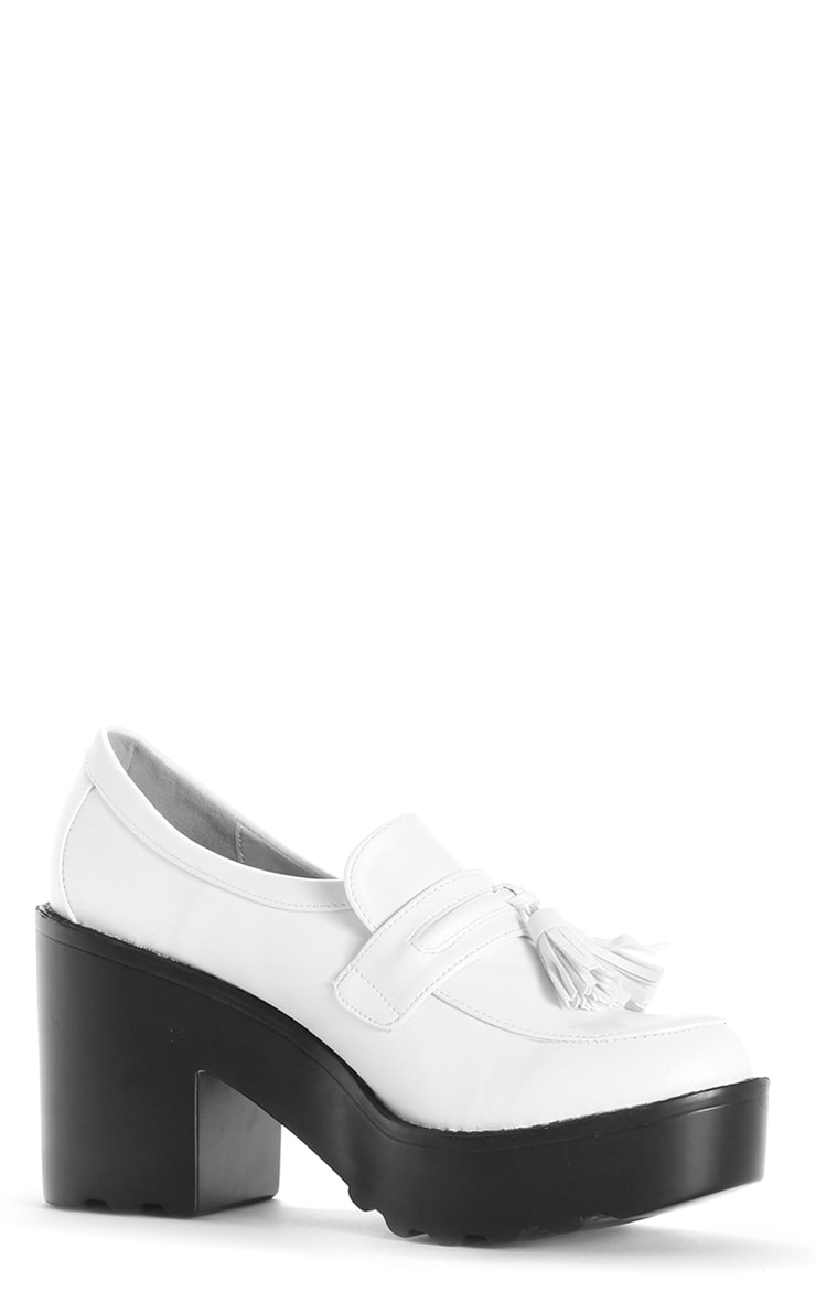 Georgia White Heeled Tassel Loafer  2