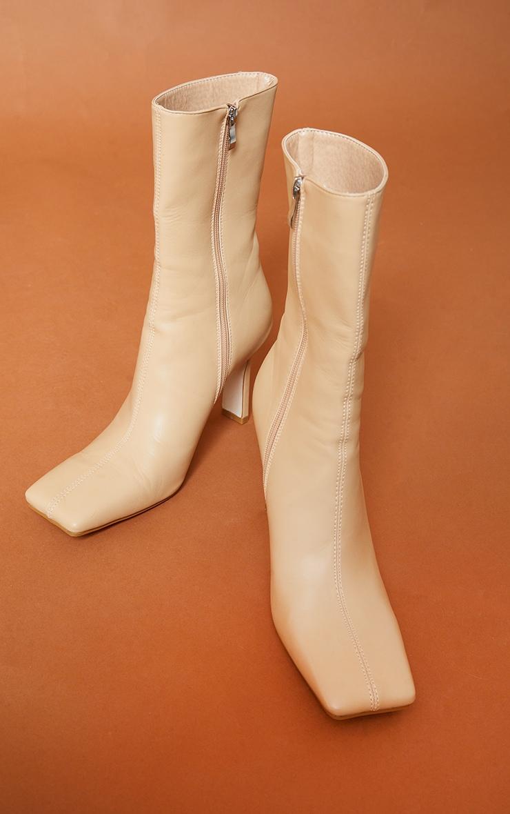 Beige Pu Square Toe Flat Heel Ankle Boots 4