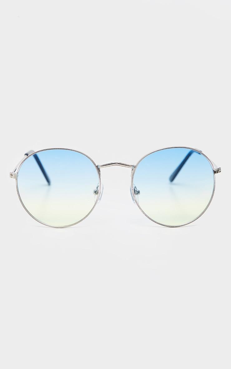 Green Fade Lens Metal Frame Round Retro Sunglasses 2