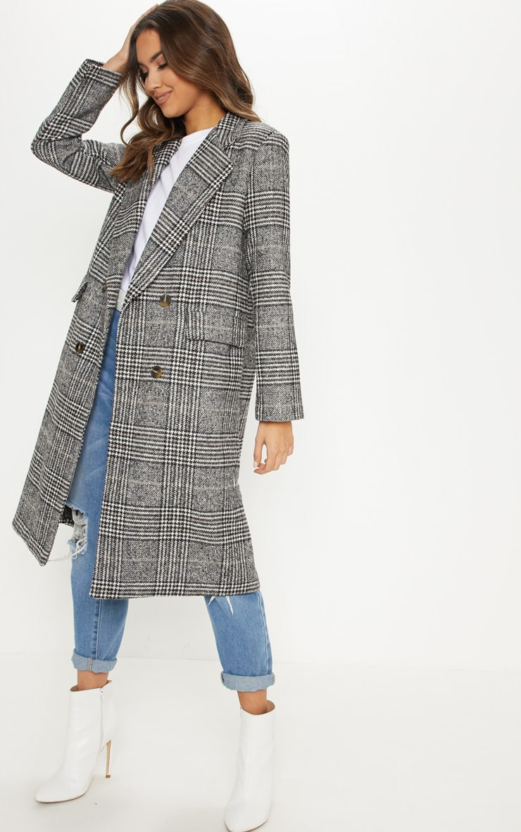 Black Oversized Check Coat by Prettylittlething