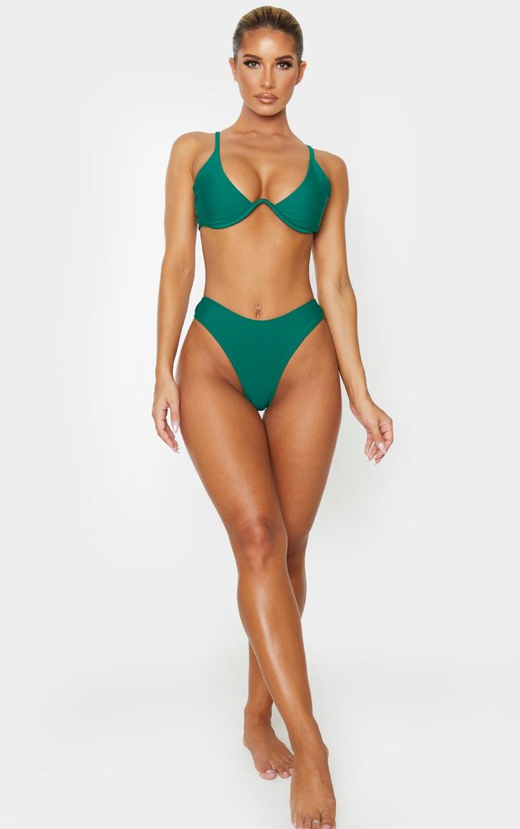Emerald Green Underwired Plunge Bikini Top 4