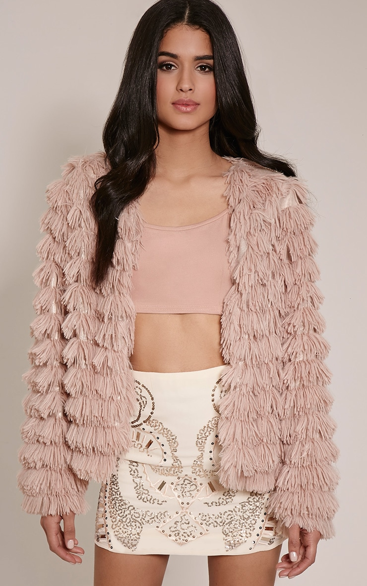 Asara Blush Faux Fur Shaggy Jacket 1