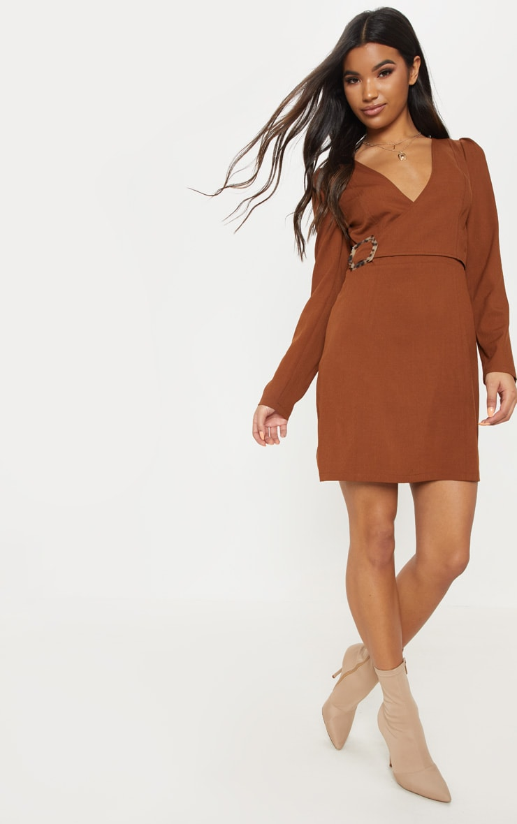 Chocolate Wrap Tortoise Shell Buckle Shift Dress 4